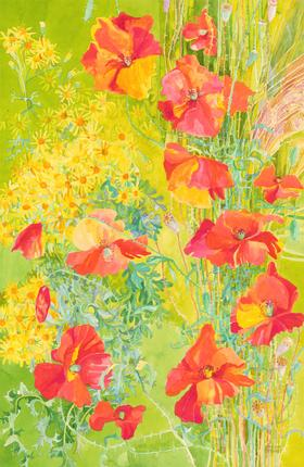 John Ivor Stewart PPPS (1936-2018) - Watercolour, Red and Yellow Flowers