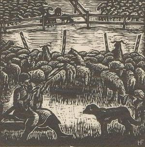 Hermann Fechenbach (1897-1986) - c.1935 Woodcut, The Shepherd