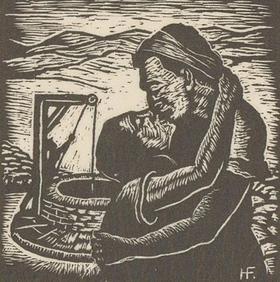Hermann Fechenbach (1897-1986) - c.1935 Woodcut, Jacob Kisses Rachel