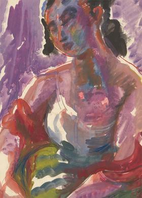 Vera Cuningham (1897-1955) - Gouache, Portrait of a Female Figure in Purple
