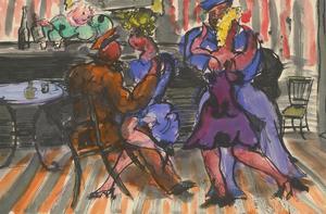 Vera Cuningham (1897-1955) - Pen and Ink Drawing, Dancing at the Bar