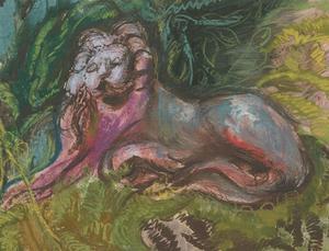 Vera Cuningham (1897-1955) - Signed 1945 Gouache, Resting Lion
