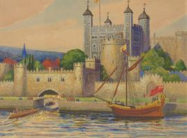 C. E. Montford (1891-1975) - Mid 20th Century Gouache, The Tower of London