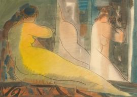 Karel Soucek (1915-1982) - Signed 1965 Monotype, Female Nude Mirror Study
