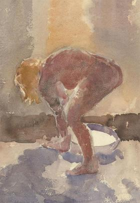Malcolm Rogers - Double Sided Mid 20th Century Watercolour, Bathing Nude