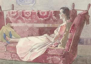 Malcolm Rogers - Mid 20th Century Watercolour, Lady in a Decorative Interior