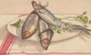 Malcolm Rogers - Signed 1930 Watercolour, Still Life Study of Fish
