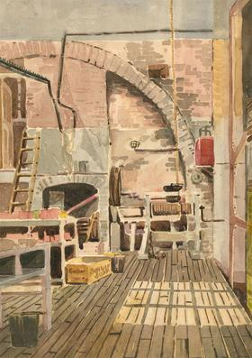 Cecil Cross - 20th Century Watercolour, Interior Scene with Fireplace