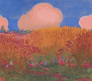 Cecil Cross - Early 20th Century Watercolour, Wheat Fields and Pink Clouds