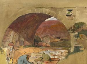 Joan Brookes - 1921 Watercolour, Eller Beck Bridge