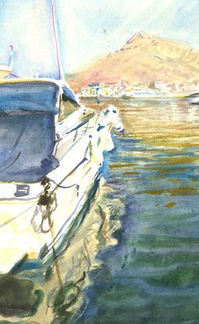 Howard J. Morgan (b.1949) - Contemporary Watercolour, View from the Boat