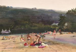 Howard J. Morgan (b.1949) - Contemporary Watercolour, Day at the Beach