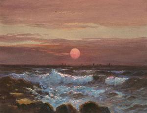 Charles Edward Hannaford RBA (1863-1955) - Watercolour, Moonlight at Sea