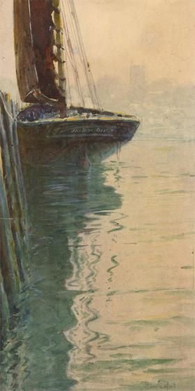 Charles Edward Hannaford RBA (1863-1955) - Signed Watercolour, Ship in Harbour