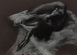 Don Hemming - Signed 2015 Charcoal Drawing, Expressive Female Nude Study