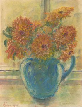 Henry E. Foster (1921-2010) - 1936 Pastel, Marigolds in a Blue Bowl