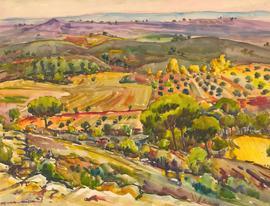 Juan Sevilla Sáez (1922-2018) - 20th Century Watercolour, Paisaje de Cuenca