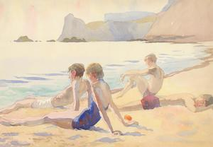 E. Lacey - c.1936 Watercolour, Bathers at the Beach