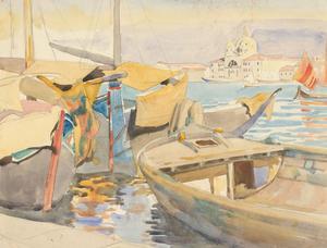 E. Lacey - c.1936 Watercolour, Moored Boats, Venice