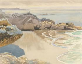 E. Lacey - c.1936 Watercolour, Secluded Beach Corner