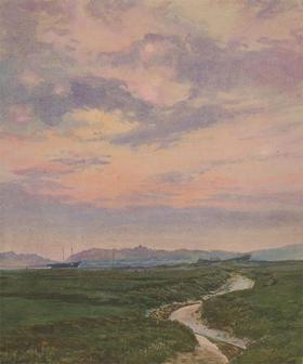 Cecil Cross - Early 20th Century Watercolour, Sunset Coast View