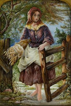 19th Century Watercolour - Peasant Gril
